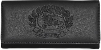 Burberry Embossed Crest Two-tone Leather Continental Wallet
