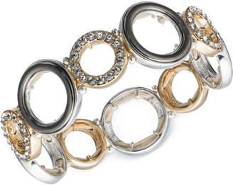 Nine West Tri-Tone Pave Accented Circle Stretch Bracelet