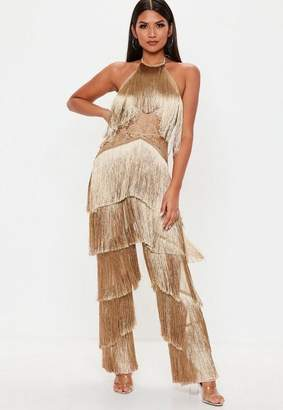 Missguided Camel Fringe Lace Jumpsuit, Toffee