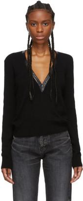 Saint Laurent Black Plunge V-Neck Sweater