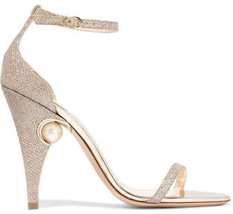 Nicholas Kirkwood Penelope Embellished Metallic Mesh Sandals - Gold