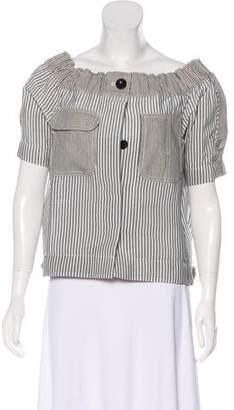 Sacai Striped Off-The-Shoulder Jacket