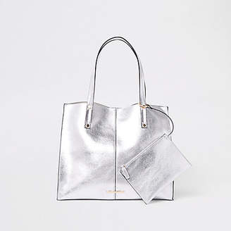 River Island Silver metallic beach bag