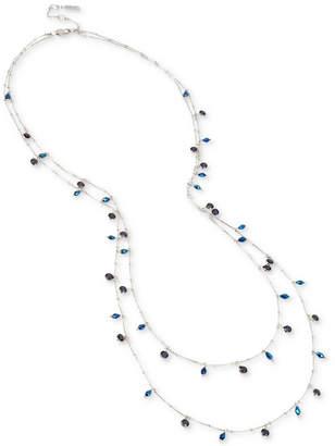 Kenneth Cole New York Hematite-Tone Dark Stone & Bead Double-Layer Necklace