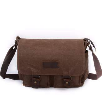 EAZO - Waxed Canvas Water Repellent Postman Shoulder Bag in Brown