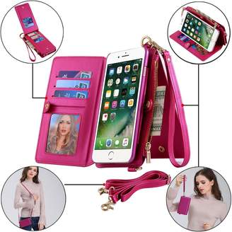 "Samsung BENIMIL iPhone 6 Case,iPhone 6s Phone Case Zipper Wallet [Wrist/Long Strap] [Kickstand Feature][Folio][Card Slots] Detachable Case Buckle Purse (iPhone 6/6s (4.7""), Silver)"