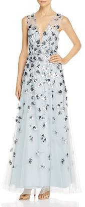 BCBGMAXAZRIA Sequined Tulle Gown
