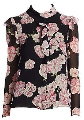 Giambattista Valli Women's Ruffled Floral Silk Blouse