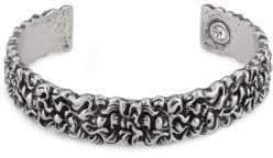 Gucci Engraved Lion Mane Metal Cuff Bracelet - Black Gold - Size Large