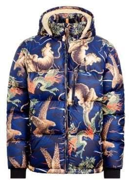 Polo Ralph Lauren Faux-Shearling Lined Down Print Puffer Coat