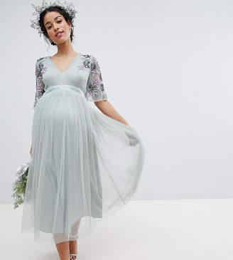 Maya Maternity Embellished Tulle Sleeve Midi Tulle Dress