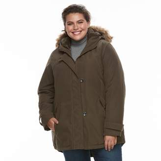 KC Collections Plus Size Hooded Faux-Fur Trim Microfiber Jacket