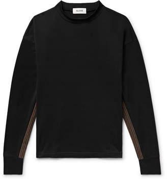 Aloye Stripe-Trimmed Mock-Neck Cotton-Jersey Sweatshirt