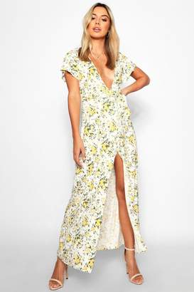 boohoo Petite Poppy Belted Plunge Maxi Dress