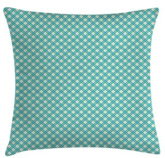East Urban Home Aqua Checked Tile Cushion Pillow Cover East Urban Home