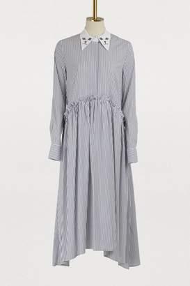 Vivetta Midi striped cat collar dress