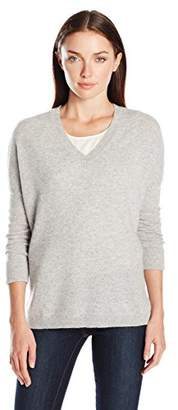 Lark & Ro Women's 100 Percent Cashmere 2 Ply Slouchy V-Neck Sweater