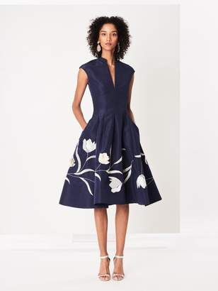 Oscar de la Renta Tulip Embroidered Silk-Faille Cocktail Dress