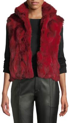 Adrienne Landau Rabbit Fur Vest, Red