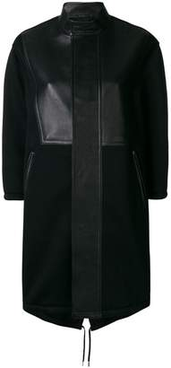 Neil Barrett leather panelled single breasted coat