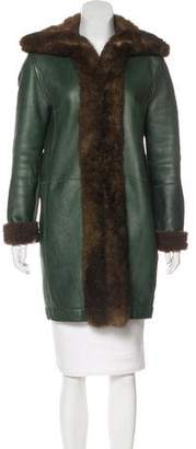 Balenciaga Fur-Trimmed Shearling Coat