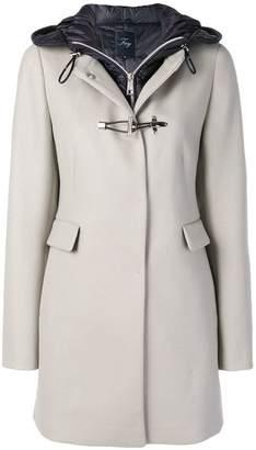 Fay contrast hood toggle coat