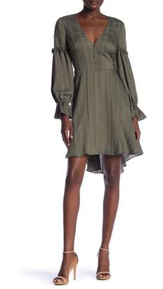 BCBGMAXAZRIA Long Sleeve Hi-Lo Hem Dress