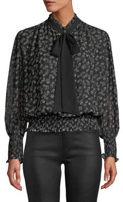 MISA Los Angeles Somer Floral High-Neck Chiffon Long-Sleeve Top