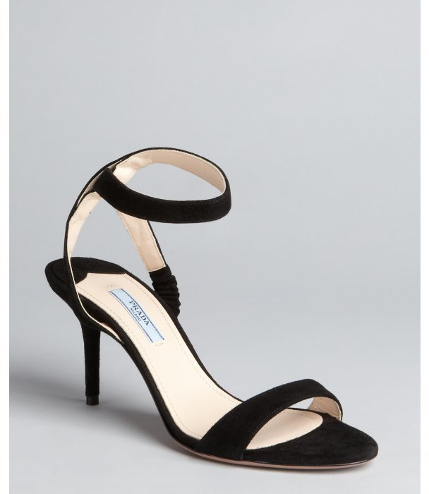 Prada black suede ankle strap sandals