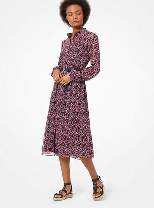 Michael Kors Floral Chiffon Shirtdress
