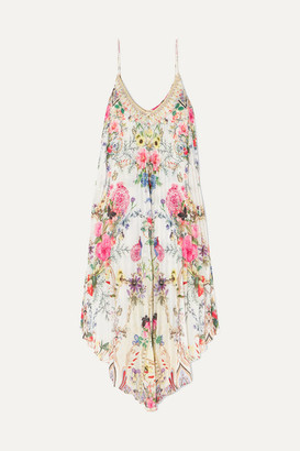 Camilla Asymmetric Pleated Floral-print Crepe De Chine Dress - White