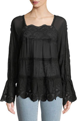 Johnny Was Alora Lace-Trim Tiered Blouse, Plus Size