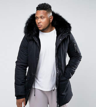 Asos Sixth June Parka Jacket In Black With Faux Fur Hood exclusive to