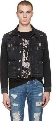 Versus Black Denim Staples Jacket $850 thestylecure.com