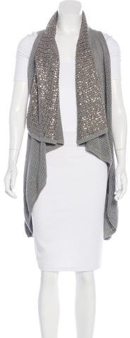 Alice + OliviaAlice + Olivia Embellished Open Knit Vest