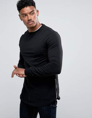 Asos DESIGN Longline Muscle Fit Sweatshirt With Curved Hem And Side Zip in Black