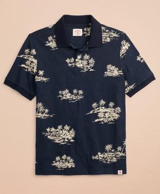 b066e8a8 Brooks Brothers Tropical Print Slub Cotton Jersey Polo Shirt
