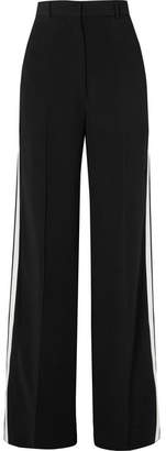 Burberry Striped Crepe Wide-leg Pants - Black