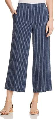 Eileen Fisher Striped Linen Wide-Leg Crop Pants