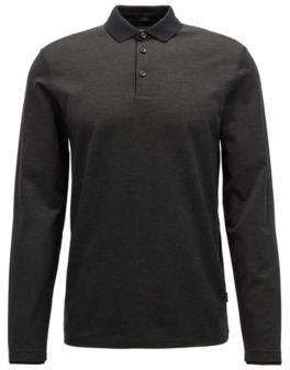 BOSS Hugo Long-sleeved polo shirt in finely striped mercerized cotton XXXL Black