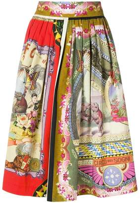 Etro circus printed midi skirt