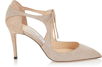 Jimmy Choo VANESSA 85 Ballet Pink Canvas Leather and Suede Pointy Toe Pumps