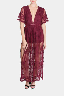 Honey Punch Butterfly Lace Maxi Dress