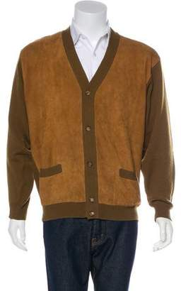 Hermes Suede-Accented Cashmere Cardigan