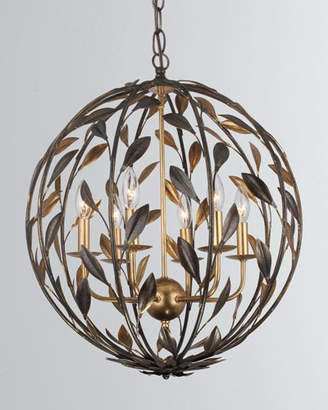 Crystorama Broche 6-Light English Bronze and Antiqued Gold Sphere Chandelier