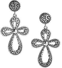 American West Sterling Diamond-Cut Cross Dangle Earrings