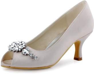 cf74d9f749e Elegantpark Women Satin Peep Toe Pumps Mid Heel Flower Chain Clips  Rhinestones Wedding Party Shoes US