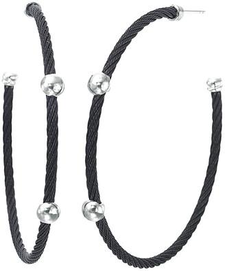 Alor Noir 18K White Gold Hoop Earrings