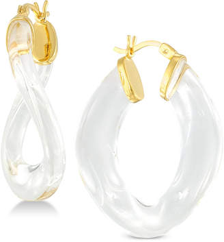 Simone I. Smith Lucite Wavy Hoop Earrings in 18k Gold over Sterling Silver