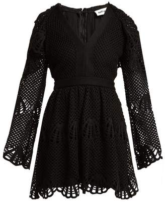 Self-Portrait Scallop-edged crochet dress